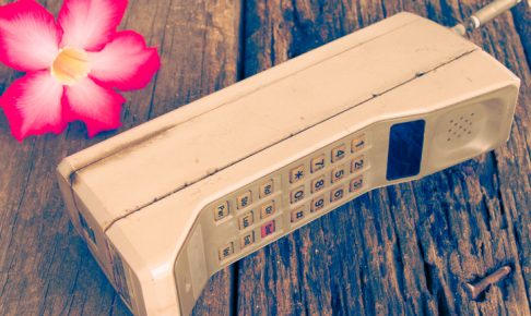vintage mobile phone with flower(vintage style)