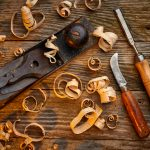 an overhead view of woodworking tools